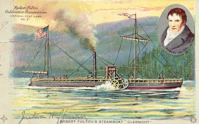 "1909 Postcard of Robert Fulton's Steamboat ""Clermont"""
